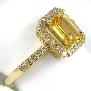 226b6d3258522 Emerald Cut Citrine & Diamond Ring 14k YG 1.25Ct Boutique